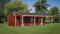 Horse Shelter, Animal Shelter, Goat Shelter, Simple Horse Barns, Amish Barns, Shed Floor Plans, House Plans, Horse Barn Plans, Run In Shed