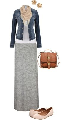 Grey maxi skirt, white shirt, and denim jacket...