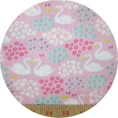 Cosmo Textiles, DOUBLE GAUZE, Sweet Swans Pink