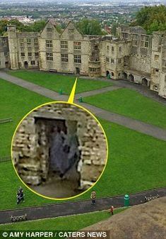 Dean & Amy Harper believe their picture (circled in yellow) shows the Grey Lady who has haunted Dudley Castle, built in 1071 in West Midlands, for centuries. The Grey Lady is said to be the spirit of Dorothy Beaumont,who died along with her baby after childbirth.
