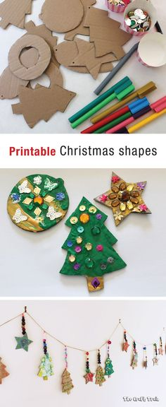 pribntable Christmas shapes template which can be used to make cardboard Christmas ornaments