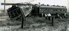 1946 - A two-car Pacific Electric Trolley train car collided with a two-ton truck and trailer in Bellflower, with the first car hurtling off the track and shearing a telephone pole.  The trailer wheels are in the upper right corner. Photo - L.A. Times Archives Web:  http://www.framework.latimes.com