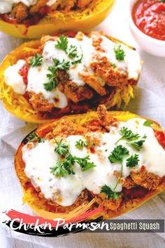 Great dinner, breakfast, lunch, dessert, appetizers ideas when you're in a pinch and not sure what to make! Ground Chicken Recipes, Mexican Chicken Recipes, Leftover Chicken Recipes, Easy Chicken Recipes, Vegan Recipes Easy Healthy, Healthy Eating, Grill Recipes, Spaghetti Squash, Parmesan