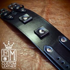 Leather watchband cuff Black Pirate style cuff bracelet hand made for YOU in NYC by Freddie Matara