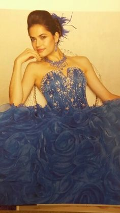 Royal blue rosette organza quinceanera gown