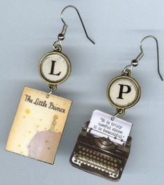 The Little Prince Typewriter Book Earrings