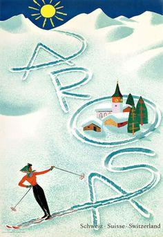Arosa-Switzerland-Ski-Travel-Vacation-A3-Art-Poster-Print