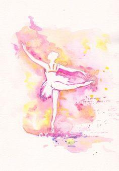Sweet Ballerina  Ballet art illustration girl room decor kids ballerina wall ballet dress dance original watercolor painting 8x11 via Etsy