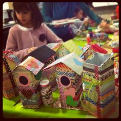 Washi Tape School / Escuela cute washi tape birdhouses