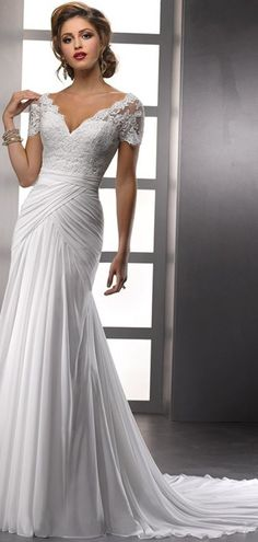 305cfe82de mermaid long wedding dresses V Neck Wedding Dress