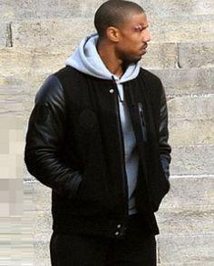 Creed Michael B Jordon (Adonis) Battle Jacket Black Letterman Jacket, Black Bomber Jacket, Jacket Men, Leather Jacket, Michael B Jordan Shirtless, Stylish Men, Men Casual, Jordan Jackets