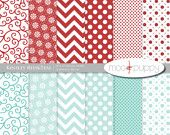 Digital Scrapbook Paper -   Kinsley Red (Buy 2 Get 1 Free) Personal and Small Commercial Use