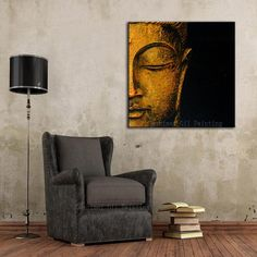 NEW Hand Painted Oil Painting Hang Wall Paintings Modern Buddha Head Paintings Religious Canvas Painting For Living Room