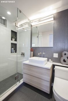 Modern Clinton Hill Co-op bathroom features gorgeous Ann Sacks gray porcelain tiles contrasted with narrow, white porcelain tiles for the shower walls. Walk-in shower storage niches are accented with slices of gray floor tile.