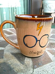 "~Small Antique Brown ""Always"" Harry Potter Owl Mug - Hand Painted. $14.00, via Etsy.~"