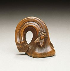 Masatsugu (Japan)   Pumpkin Stem and Fly, mid-19th century  Netsuke, Boxwood