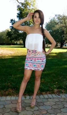 White Flutter Crop Top and Aztec Skirt