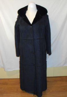 baby phat Navy Blue Ankle Lenght Coat Hood Large Cat Logo baby phat on back  #babyhat #AmleLenghtHoodedCoat