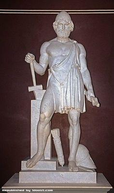 Hephaestus (/hɪˈfiːstəs/, /həˈfɛstəs/ or /hɨˈfɛstəs/; eight spellings; Ancient Greek: Ἥφαιστος Hēphaistos) is the Greek god of blacksmiths, craftsmen, artisans, sculptors, metals, metallurgy, fire and volcanoes. Hephaestus' Roman equivalent is Vulcan. In Greek mythology, Hephaestus was the son of Zeus and Hera, the king and queen of the gods_هفائستوس_خدای کوره آهنگری و اختراع