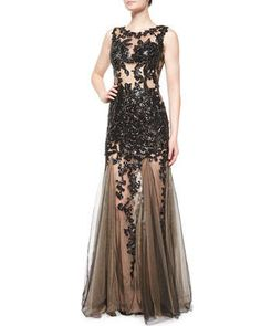 Sleeveless+Beaded+Lace+Tulle+Gown++by+Jovani+at+Neiman+Marcus.