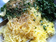 Spaghetti Squash with Garlic, Cumin and Fresh Herbs. Gluten-free, vegan, oil, soy and sugar free