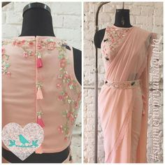 Roses and Birds saree with belt  Call/Message +919899070899