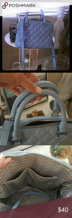 Soft cushion periwinkle color bag New Bag beatiful periwinkle color worn few times . NO STAINS no rips. SMOKE free odor free clean home. Also can be worn with handles & without strap if desired . Bags Crossbody Bags