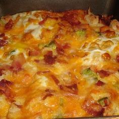 Bacon and Egg Breakfast Casserole.... Just made this but used sausage!