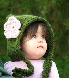 Baby pixie hat Pixie hood Baby hat Newborn knitted Infant girl hats Knit infant hats Crochet baby hat 0-3/3-6mo/6-12mo/12-24mo/24-48mo. $30.00, via Etsy.