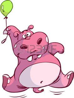 lindo hipop�tamo Rosa flotando en globo photo