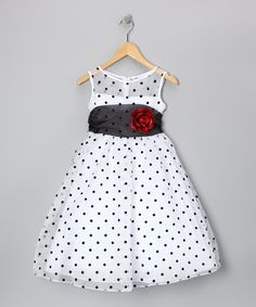 Kid's Dream White & Black Polka Dot Rose Dress - Toddler & Girls - Made in the USA