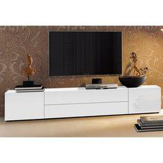Meuble TV bas 2 portes + 2 tiroirs centraux, L 200 cm - Blanc brillant- Vue 1