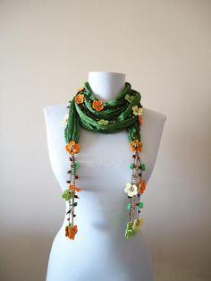 Items similar to Green Silk Wrap Necklace Beaded Necklace Silk Wrap Scarf Crochet Oya Wrap Flowers Foulard Beaded Jewelry Scarf Crochet Jewelry on Etsy Etsy Jewelry, Beaded Jewelry, Beaded Necklace, Ribbon Jewelry, Scarf Knots, Scarf Wrap, Crochet Scarves, Crochet Shawl, Beaded Crochet