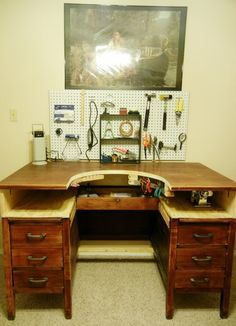 Jewelry Making Ideas A Jeweler's Bench! Complete with slide out tray, made of consignment wooden desk! Jewelers Workbench, Jewellers Bench, Studio Organization, Wooden Desk, Home Improvement Projects, Making Ideas, Jewelry Making, Jewelry Tools, Jewelry Logo