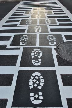 Street Art: Creative Crosswalks - Uncustomary Art - Hopscotch crosswalks near the Bromo Seltzer Tower (Eutaw and Lombard) Who knew?!