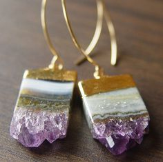 Lilac Amethyst Stalactite Drusy 14k gold Earrings