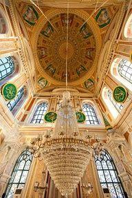 Interior of Mecidiye Mosque, Ortakoy district, Istanbul - Turkey