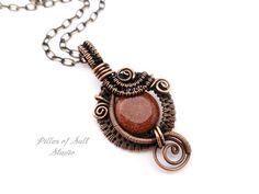 Goldstone Wire wrapped pendant / Wire by PillarOfSaltStudio