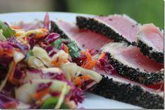 Seared Ahi Tuna and Asian Slaw Salad Tuna Steak Recipes, Seafood Recipes, Asian Slaw Salad, Seared Tuna, Tuna Steaks, Meal Deal, Frosting Recipes, Yummy Food, Delicious Recipes