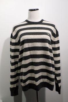 Lacoste Black & White Long Sleeve Sweater Size 7 #Lacoste #Crewneck