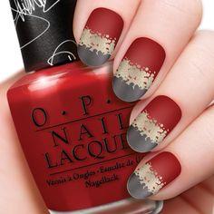 red gold and grey matte fingernail polish design