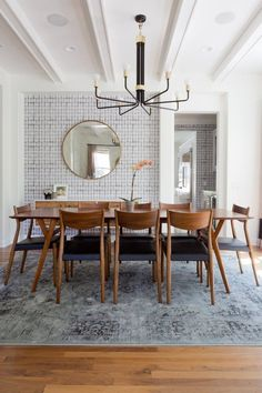 Vintage modern dining room Photo by Amy Bartlam Dining Room Design, Dining Room Chairs, Dining Room Furniture, Wall Paper Dining Room, Furniture Ideas, Modern Furniture, Dining Room With Mirror, Small Dining Rooms, Mirror Room