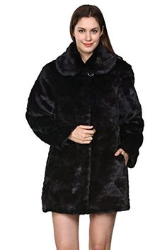 Adelaqueen Women's Black Trimmed Mink Faux Fur Strip & Block Style Lapel Coat Size XXL