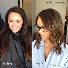 #ShareIG Here is a before and after of the beautiful @Kristen - Storefront Life - Storefront Life Marie Had so much fun with this makeover! As you can see we took her to a long bob/mid length cut. I kept her cut blunt all around and added soft layers around her face. For her color I went thru with balayage highlights, a golden toner and finished with a sexy beach wave!