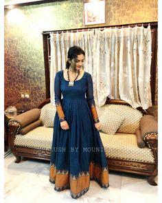 Reyon with* *with zari gota border gown full flair* . Lehenga Designs, Half Saree Designs, Kurti Designs Party Wear, Salwar Designs, Party Wear Indian Dresses, Indian Gowns Dresses, Dress Indian Style, Saree Gown, Sari Dress