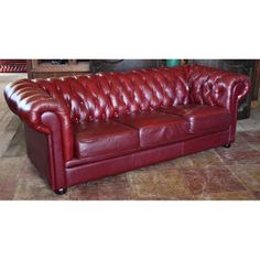 Vintage Red Leather Chesterfield Sofa   Seating   Andy Thornton