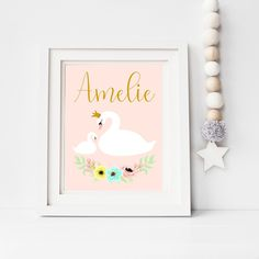 Your place to buy and sell all things handmade Swan Nursery Decor, Nursery Wall Art, Bedroom Decor, Beautiful Swan, Beautiful Baby Girl, Unique Baby Gifts, Handmade Gifts, Personalised Prints, Nursery Prints