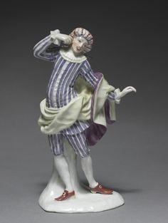 Italian Comedy Figure: Mezetin, c. 1753, Fürstenberg Porcelain Factory (German), Simon Feilner (German, 1798), porcelain with enamel decoration, Overall: 19.70 x 9.40 x 8.10 cm (7 3/4 x 3 11/16 x 3 3/16 inches). Gift of A. & R. Ball 1952.224