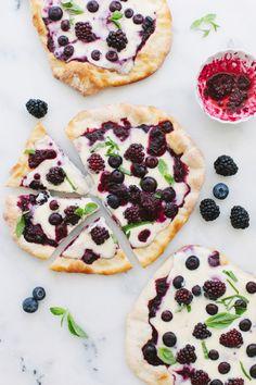 Berry Pizza Recipe , a cheesecake style blackberry pizza made with whipped ricotta mascarpone cheese, vanilla and wild honey, insane ! | CiaoFlorentina.com
