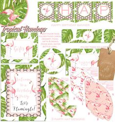 This pretty tropical flamingo birthday party pack is accented with palm frond and flamingos.  *This party pack is also available for single baby or twins baby showers.  **Birthday invitation SOLD SEPARATELY here...